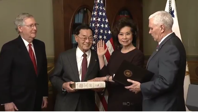 January 31, 2017 - Elaine L. Chao was sworn in as the 18th United States Secretary of Transportation on January 31, hours after being confirmed by the United States Senate by a final vote of 93 to 6, with opposition from a handful of Democrats including Chuck Schumer (D-NY), Kirsten Gillibrand (D-NY), Bernie Sanders (I-VT), Cory Booker (D-NJ), and Elizabeth Warren (D-MA).