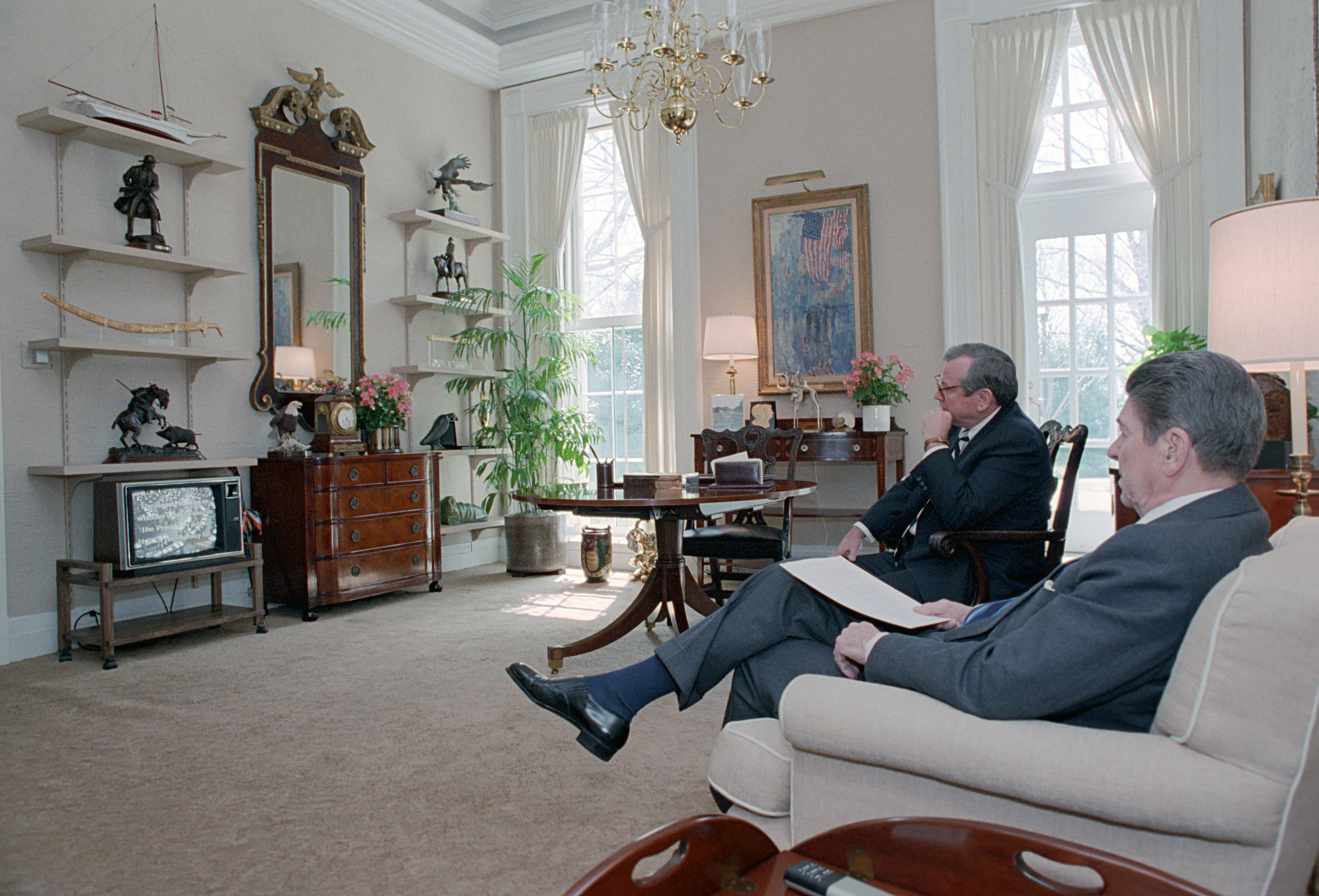 reagan oval office. President Reagan And Chief Of Staff Howard Baker Sit In The Study Adjoining Oval Office Watch Senate Vote On Veto Override, April 1, 1987. 1