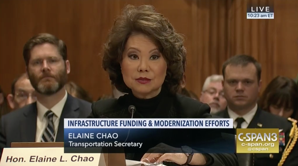 March 2, 2018 - Transportation Secretary Elaine Chao defended the Trump Administration's infrastructure initiative and fiscal 2019 budget request before the Senate Environment and Public Works Committee this week. The civilian head of the U.S. Army Corps of Engineers, R.D. James, also discussed the Corps' water resources program.
