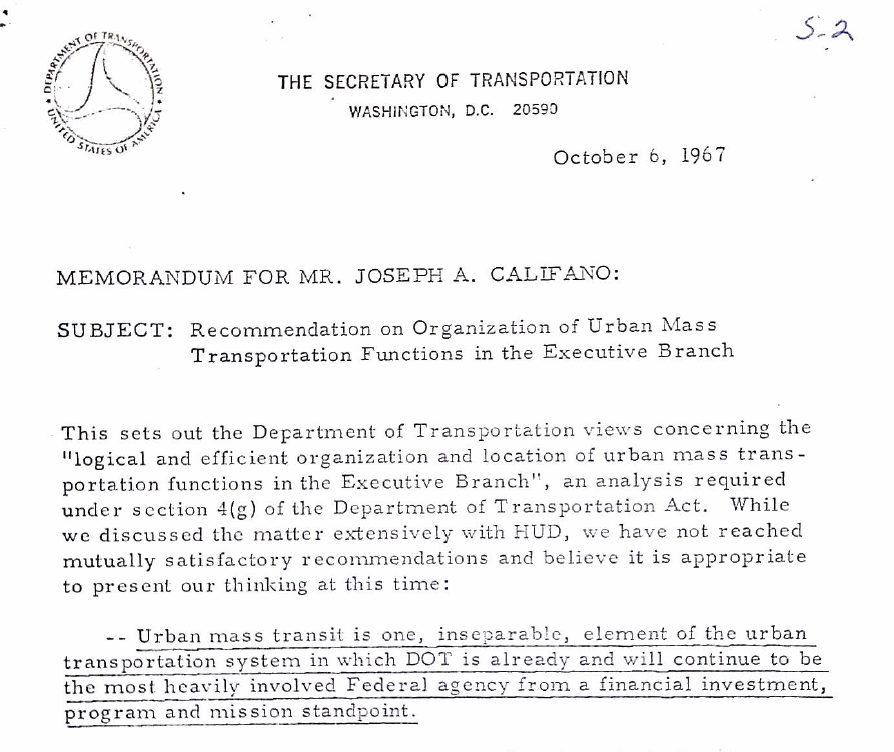 Moving Mass Transit from DOT to HUD – The Documentary Record