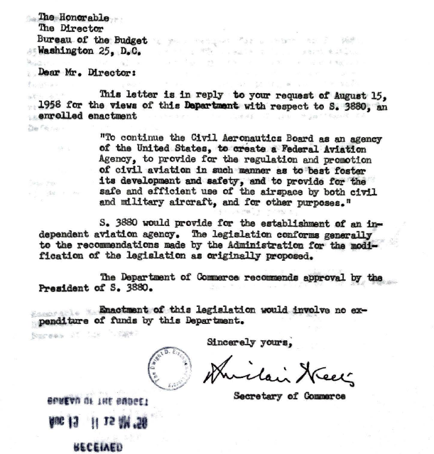 1958 FAA Act – White House Enrolled Bill File
