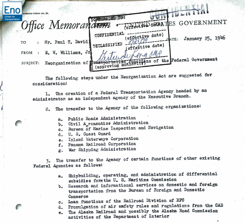 Document Compilation: Truman Administration Efforts to Reorganize Federal Transportation Functions in 1946