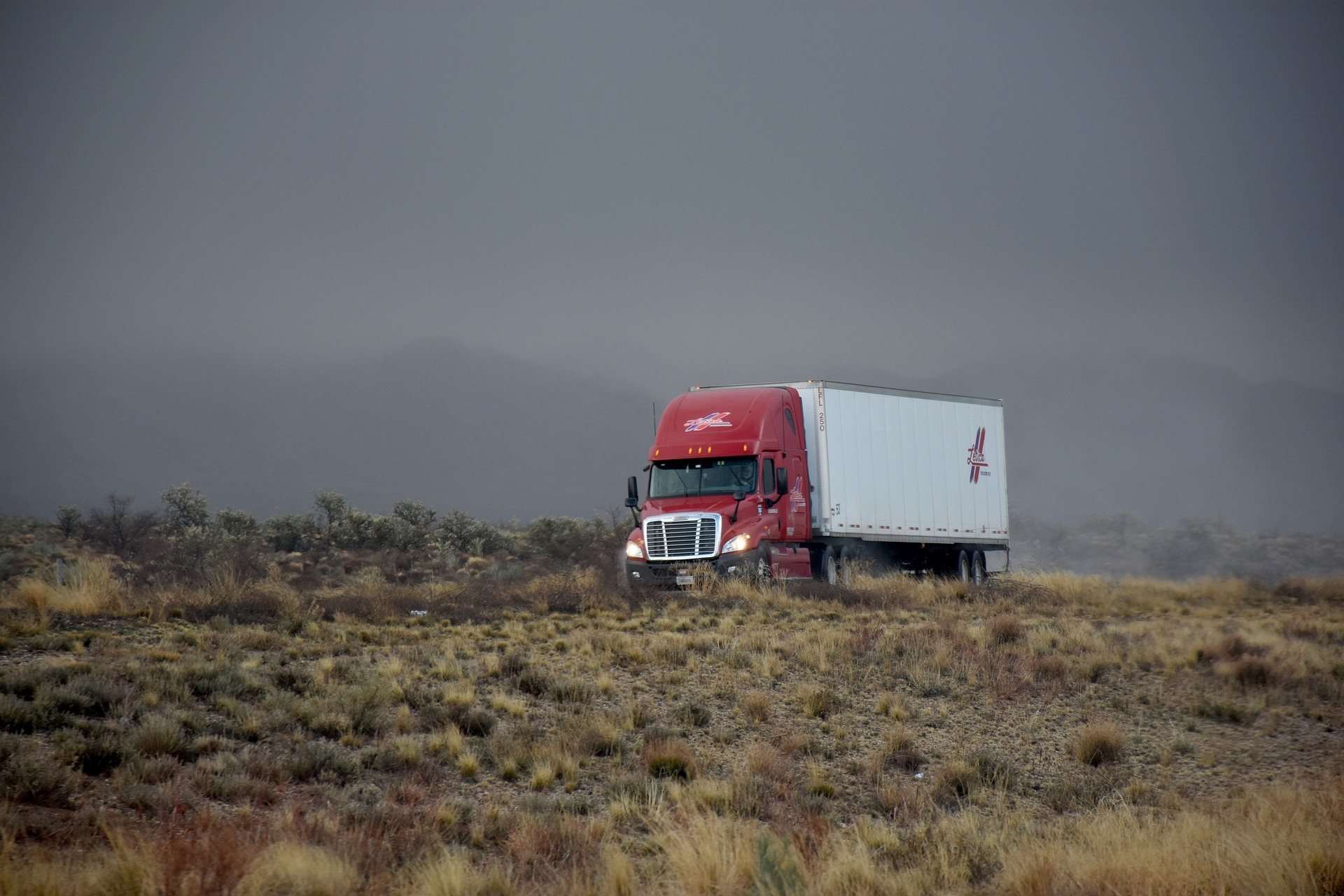 moody picture of a semi truck