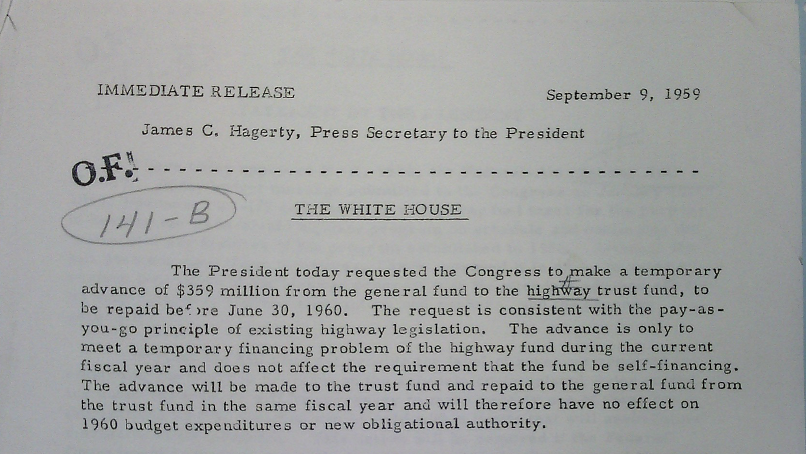 September 1959 Highway Trust Fund Bailout Announcement