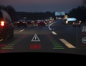 Projection of traffic and car control items on the windscreen of a modern car, dangerous situation due to changing lanes - headup display. Generic look.